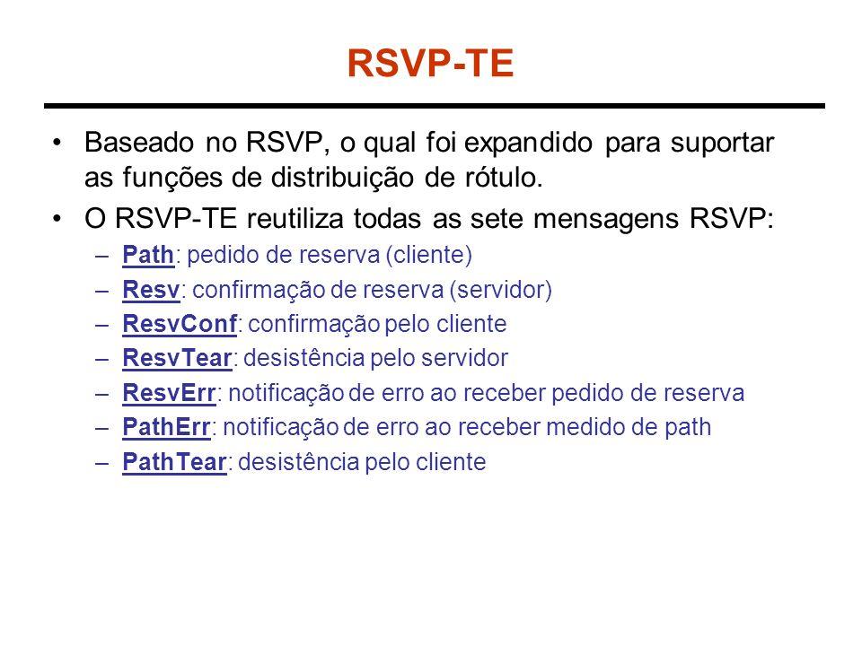 RSVP-TE Baseado no RSVP, o qual foi expandido para suportar as funções de distribuição de rótulo. O RSVP-TE reutiliza todas as sete mensagens RSVP: