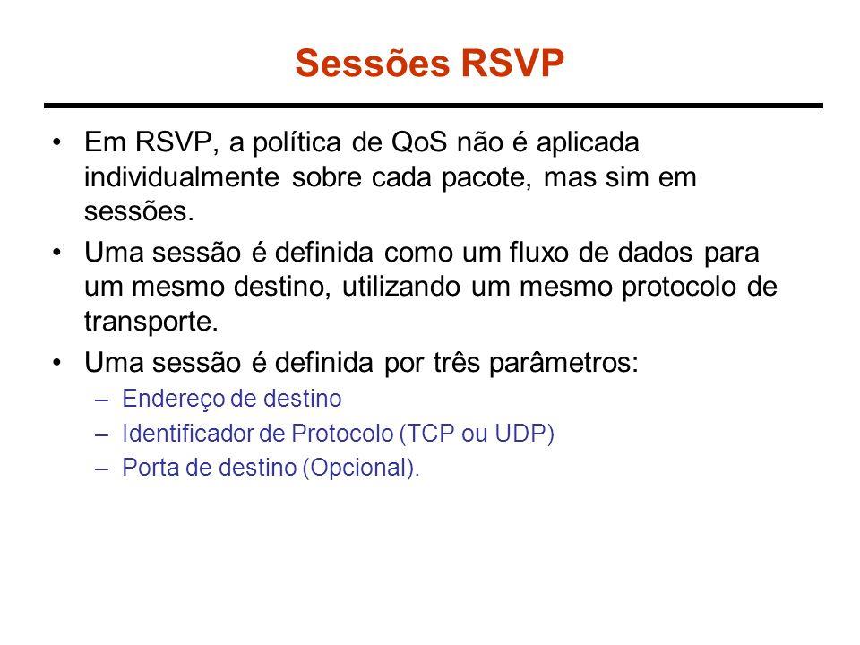 Sessões RSVP Em RSVP, a política de QoS não é aplicada individualmente sobre cada pacote, mas sim em sessões.