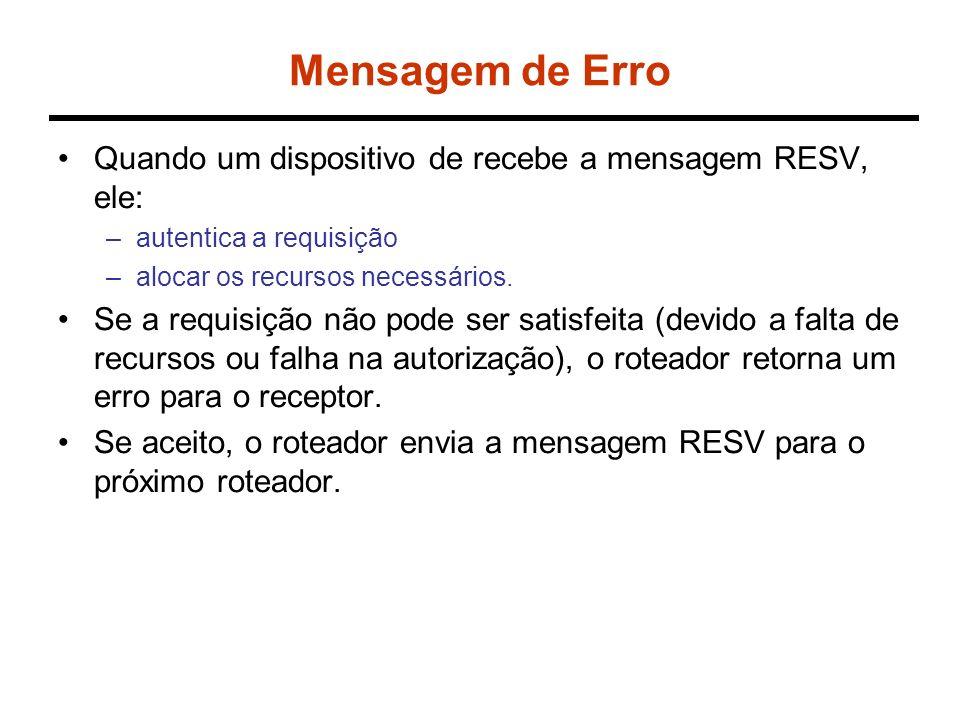 Mensagem de Erro Quando um dispositivo de recebe a mensagem RESV, ele: