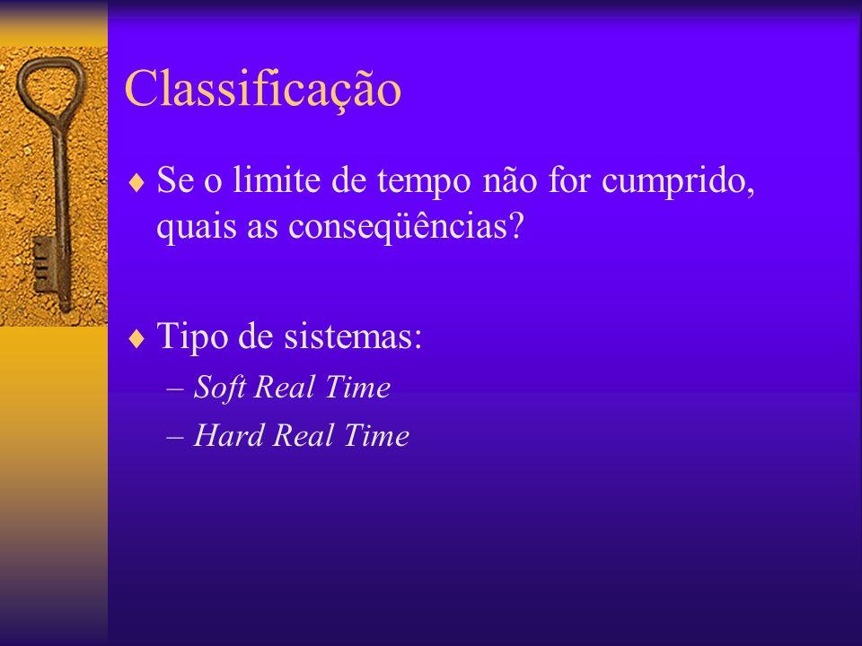 Classificação Se o limite de tempo não for cumprido, quais as conseqüências Tipo de sistemas: Soft Real Time.