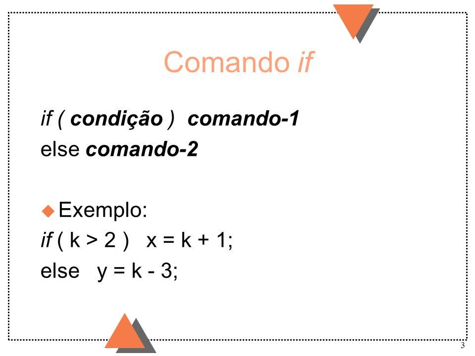 Comando if if ( condição ) comando-1 else comando-2 Exemplo: