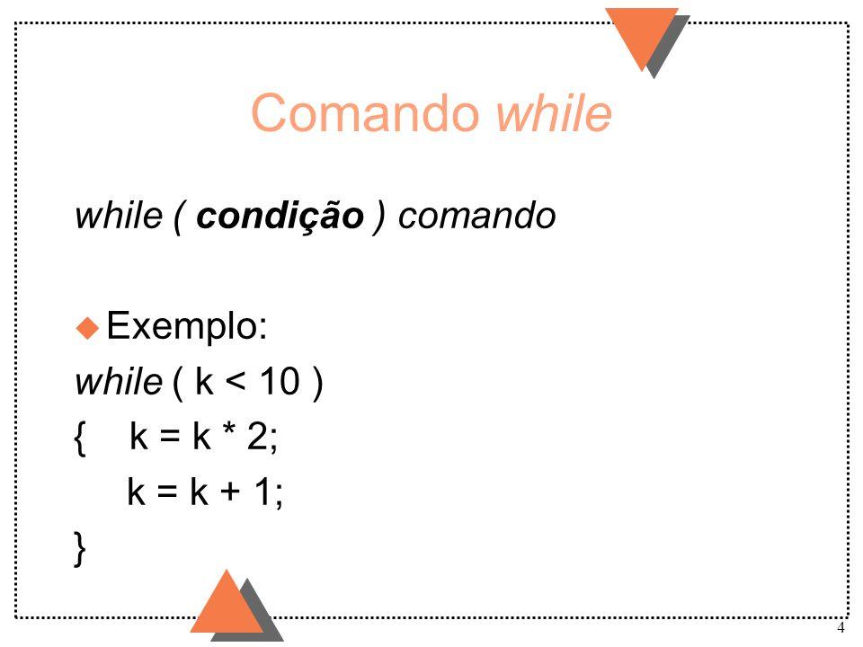 Comando while while ( condição ) comando Exemplo: while ( k < 10 )