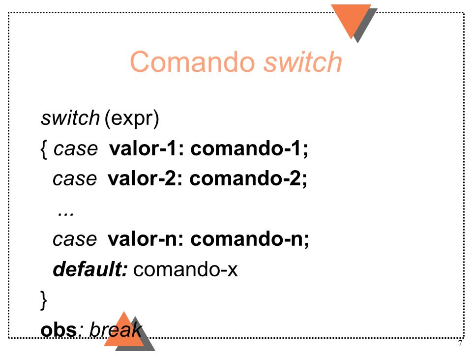Comando switch switch (expr) { case valor-1: comando-1;