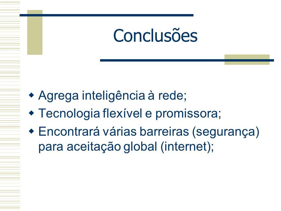 Conclusões Agrega inteligência à rede;