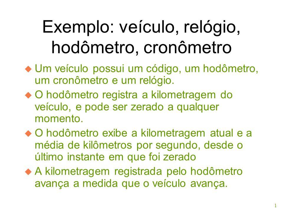 Exemplo: veículo, relógio, hodômetro, cronômetro