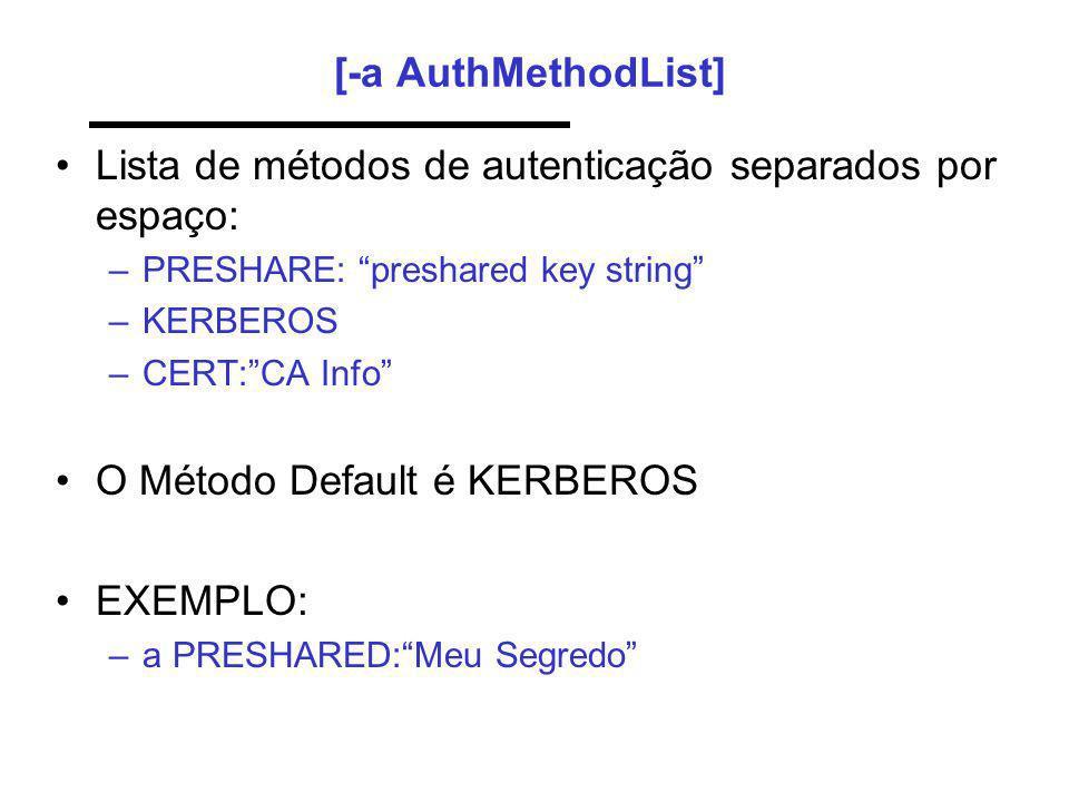 Lista de métodos de autenticação separados por espaço: