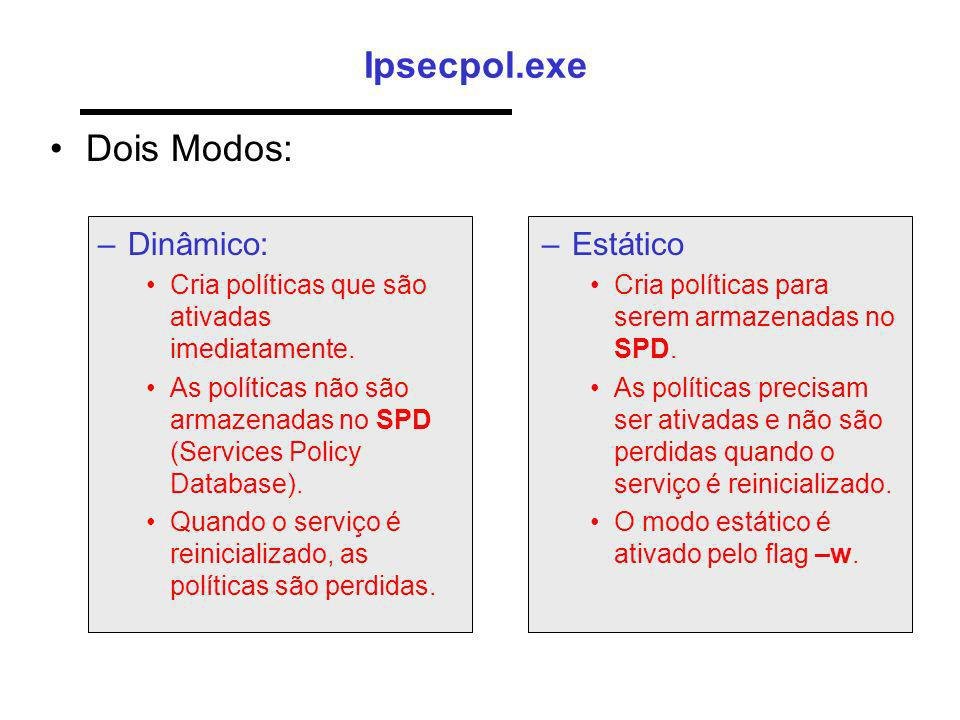 Ipsecpol.exe Dois Modos: Dinâmico: Estático