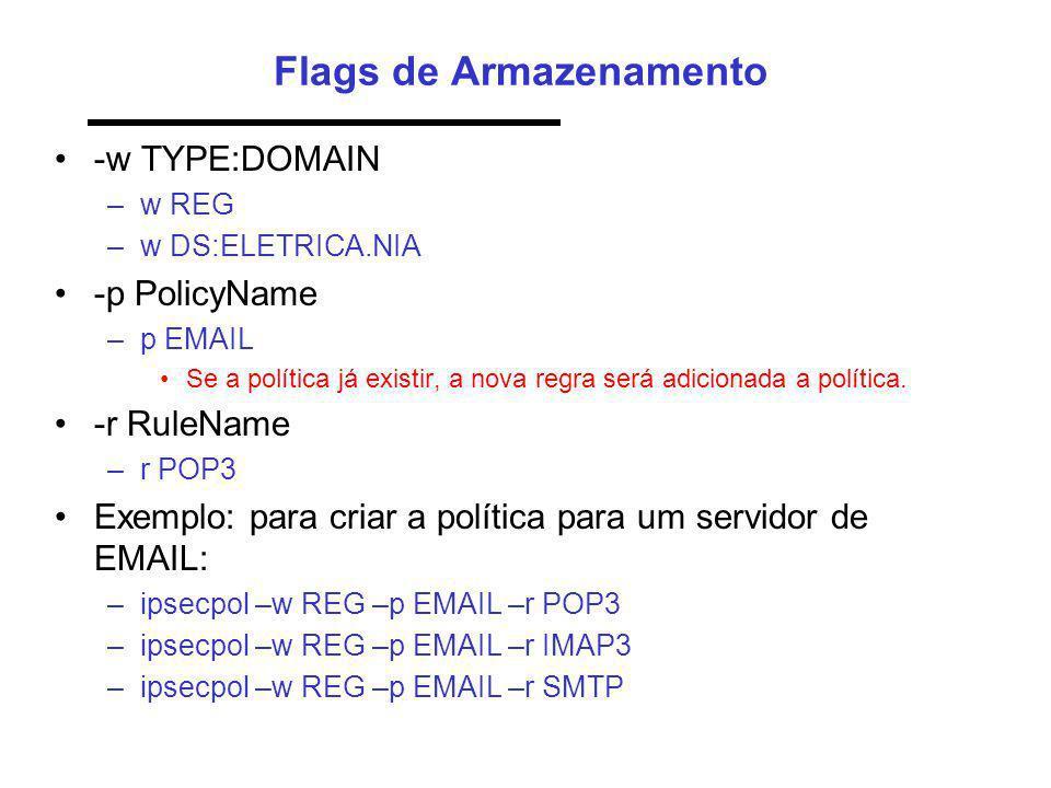 Flags de Armazenamento