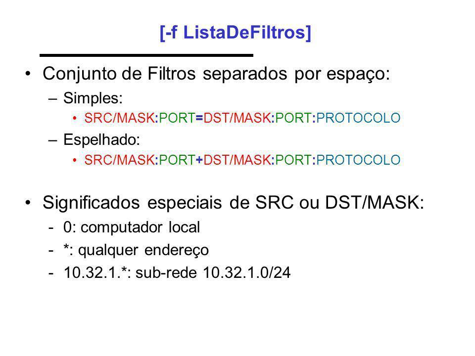 Conjunto de Filtros separados por espaço: