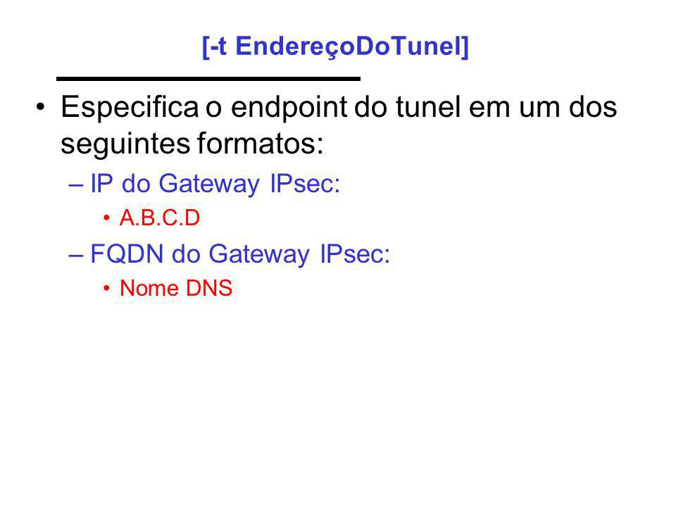 Especifica o endpoint do tunel em um dos seguintes formatos:
