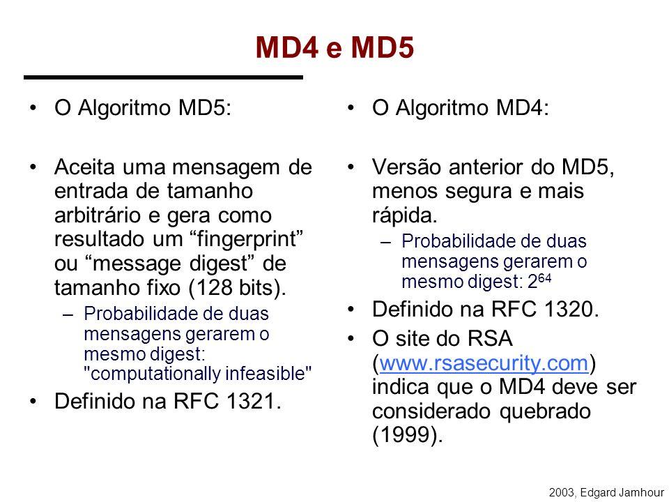 MD4 e MD5 O Algoritmo MD5: