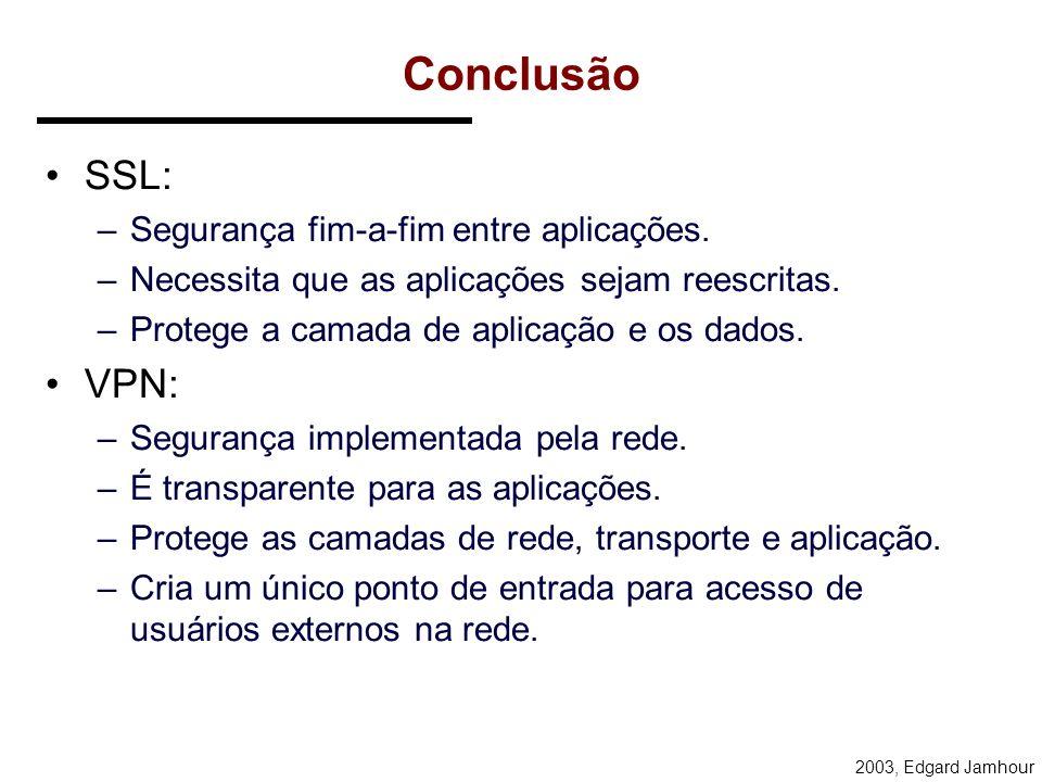 Conclusão SSL: VPN: Segurança fim-a-fim entre aplicações.