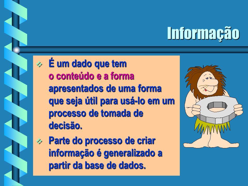 Informação É um dado que tem o conteúdo e a forma apresentados de uma forma que seja útil para usá-lo em um processo de tomada de decisão.