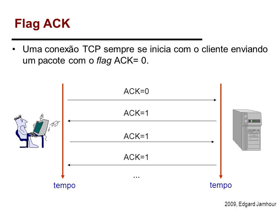 Flag ACK Uma conexão TCP sempre se inicia com o cliente enviando um pacote com o flag ACK= 0. ACK=0.