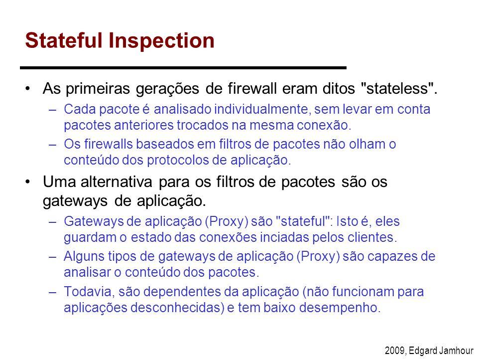 Stateful InspectionAs primeiras gerações de firewall eram ditos stateless .
