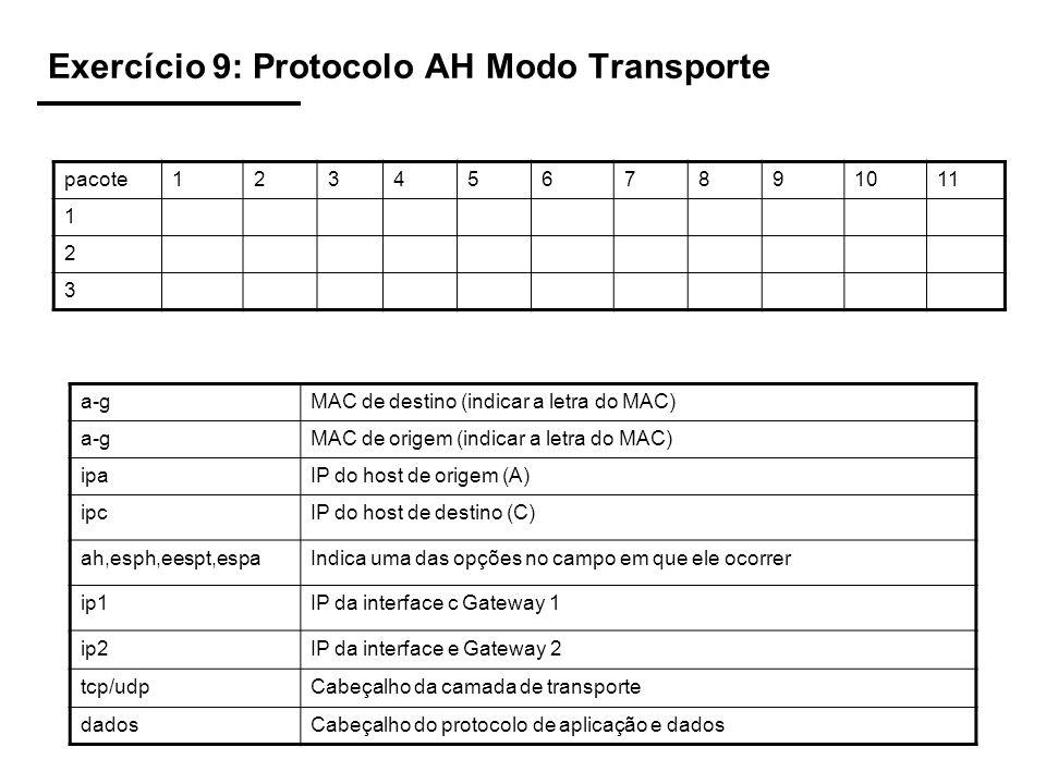 Exercício 9: Protocolo AH Modo Transporte