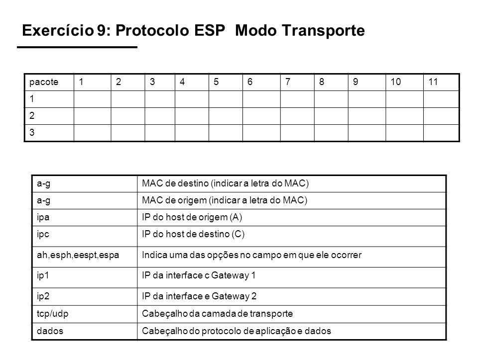 Exercício 9: Protocolo ESP Modo Transporte