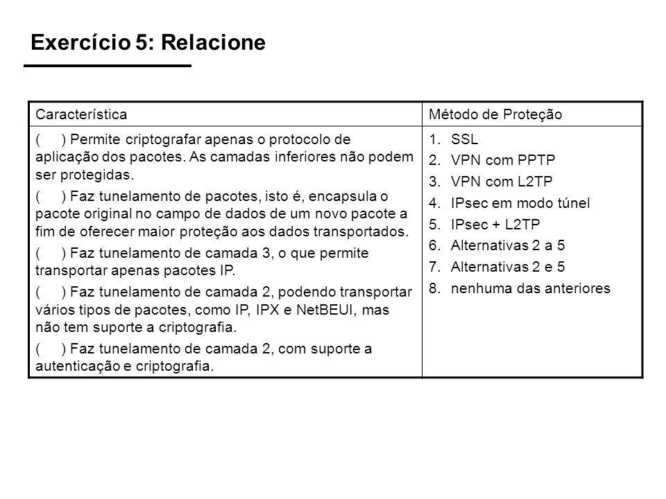 Exercício 5: Relacione Característica Método de Proteção