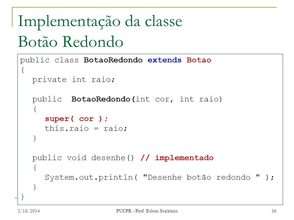Implementação da classe Botão Redondo