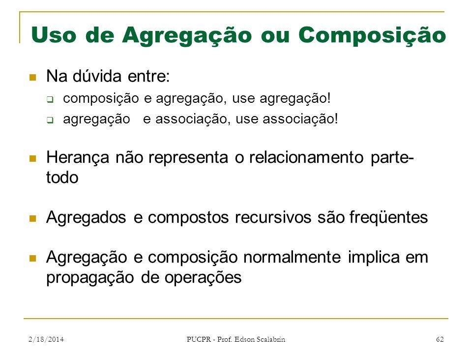 Uso de Agregação ou Composição