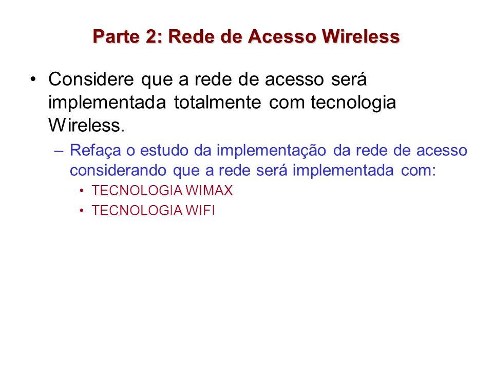 Parte 2: Rede de Acesso Wireless