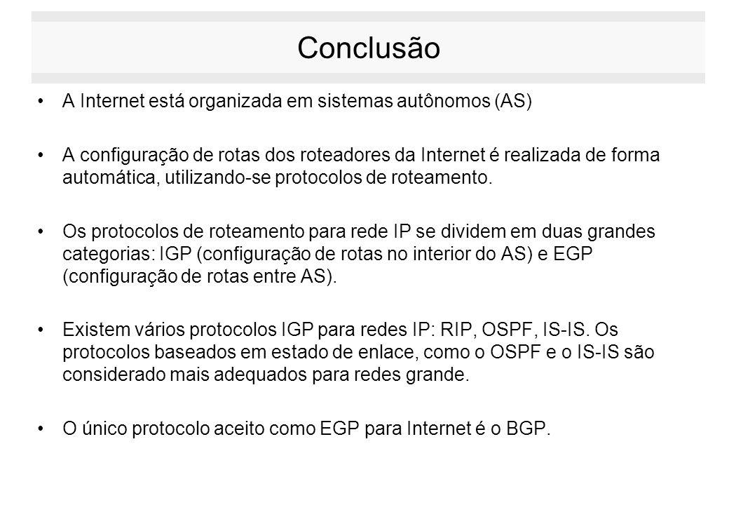 Conclusão A Internet está organizada em sistemas autônomos (AS)