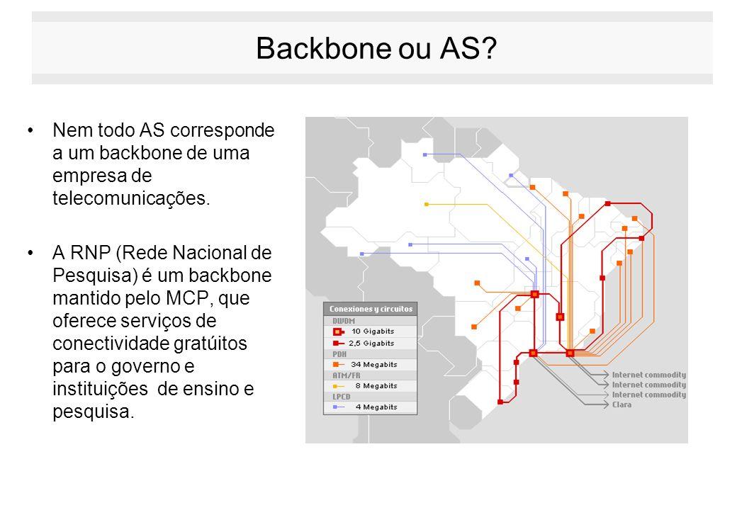Backbone ou AS Nem todo AS corresponde a um backbone de uma empresa de telecomunicações.