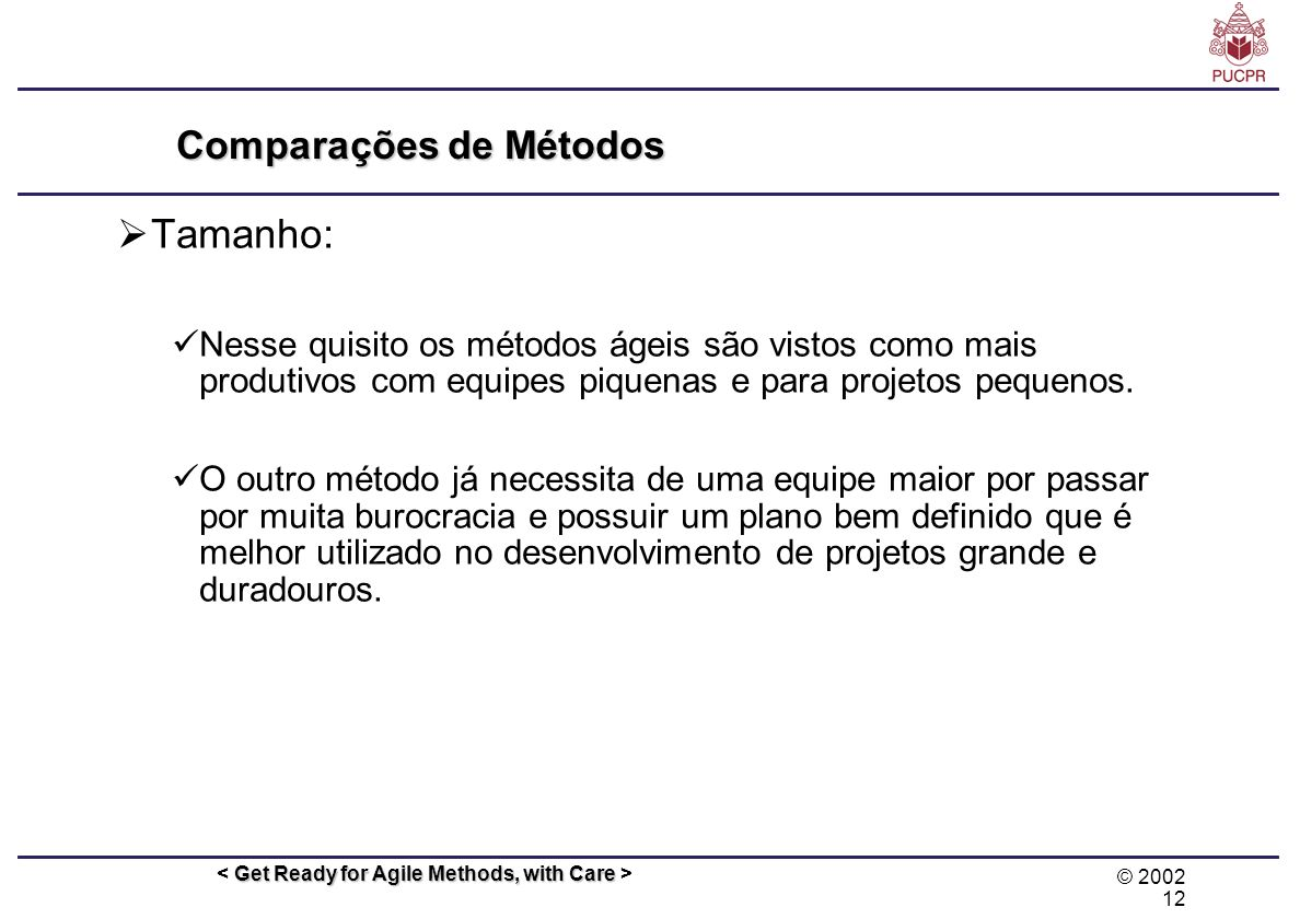 Comparações de Métodos