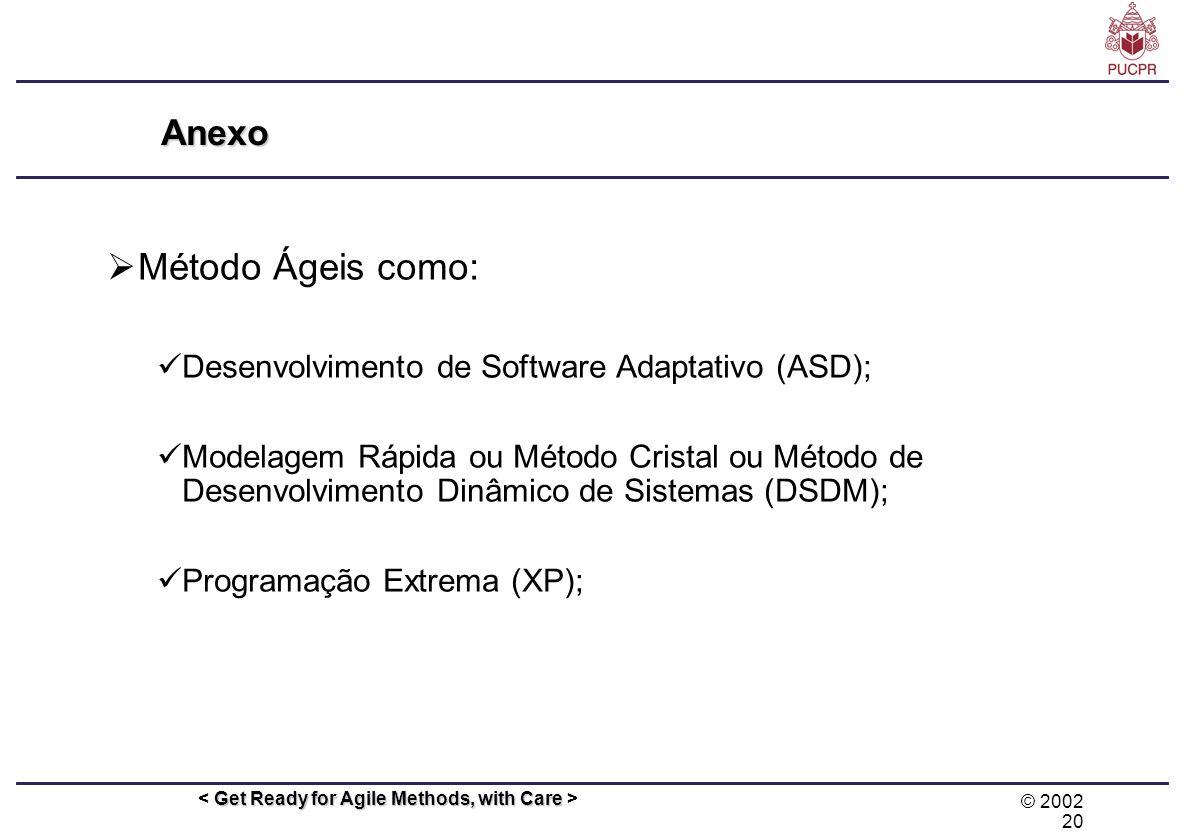 Método Ágeis como: Anexo Desenvolvimento de Software Adaptativo (ASD);