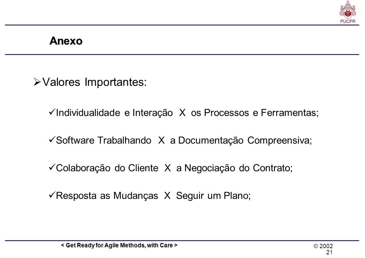 Valores Importantes: Anexo