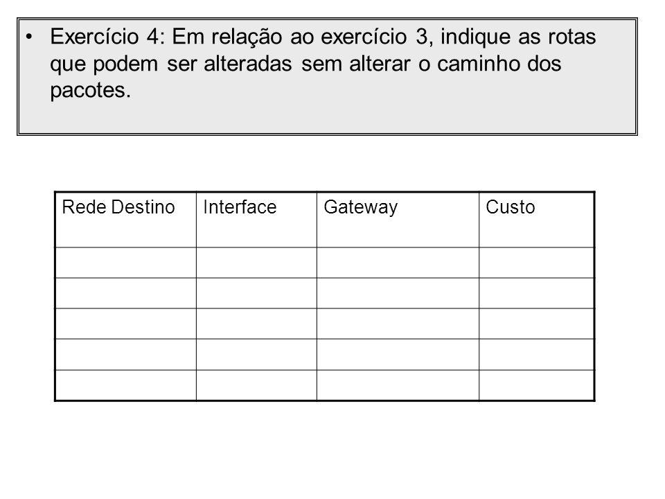 Exercício 4: Em relação ao exercício 3, indique as rotas que podem ser alteradas sem alterar o caminho dos pacotes.