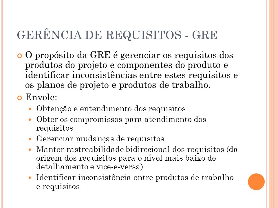 GERÊNCIA DE REQUISITOS - GRE