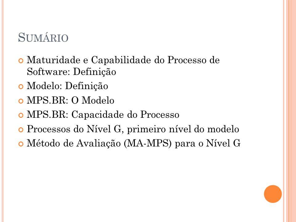 Sumário Maturidade e Capabilidade do Processo de Software: Definição