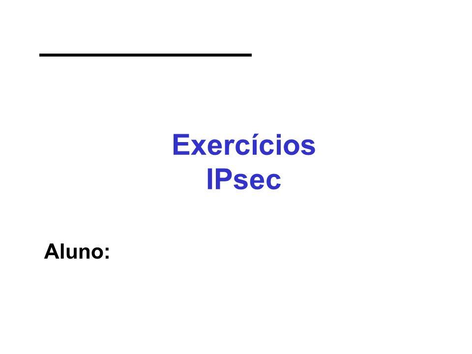 Exercícios IPsec Aluno: