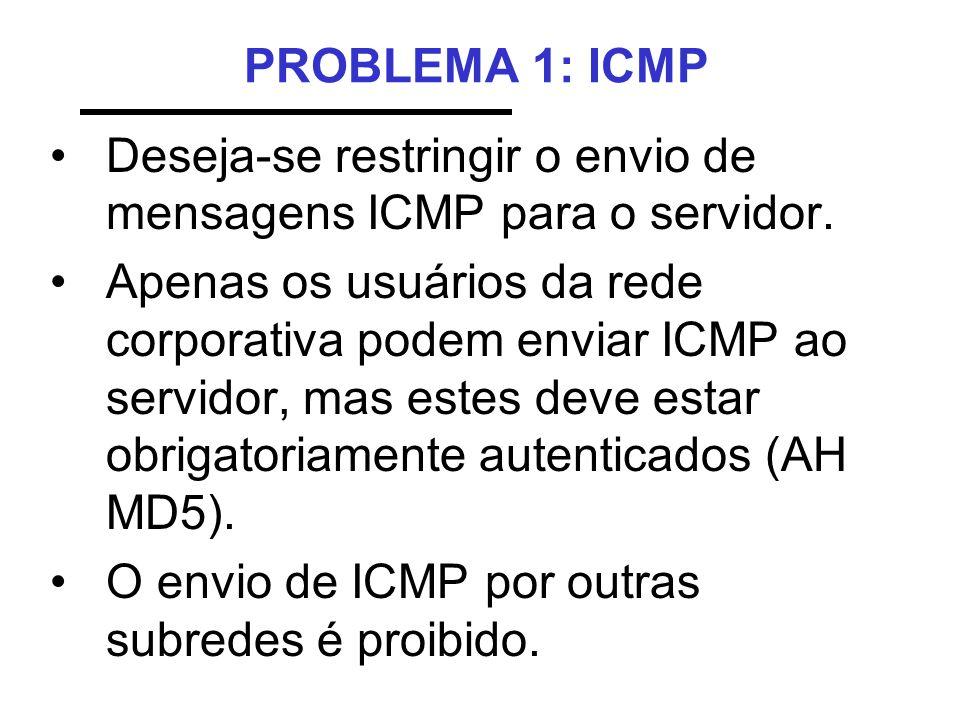 PROBLEMA 1: ICMPDeseja-se restringir o envio de mensagens ICMP para o servidor.