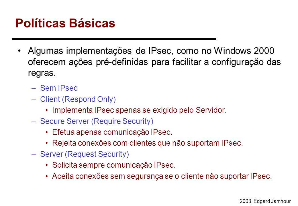 Políticas Básicas Algumas implementações de IPsec, como no Windows 2000 oferecem ações pré-definidas para facilitar a configuração das regras.