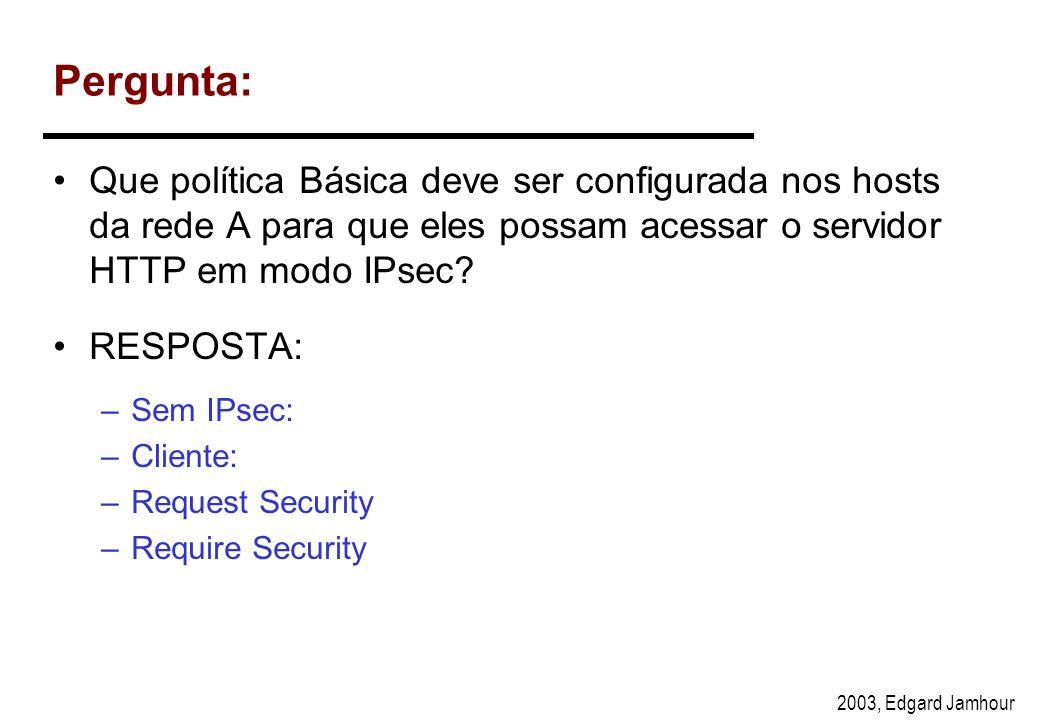 Pergunta: Que política Básica deve ser configurada nos hosts da rede A para que eles possam acessar o servidor HTTP em modo IPsec