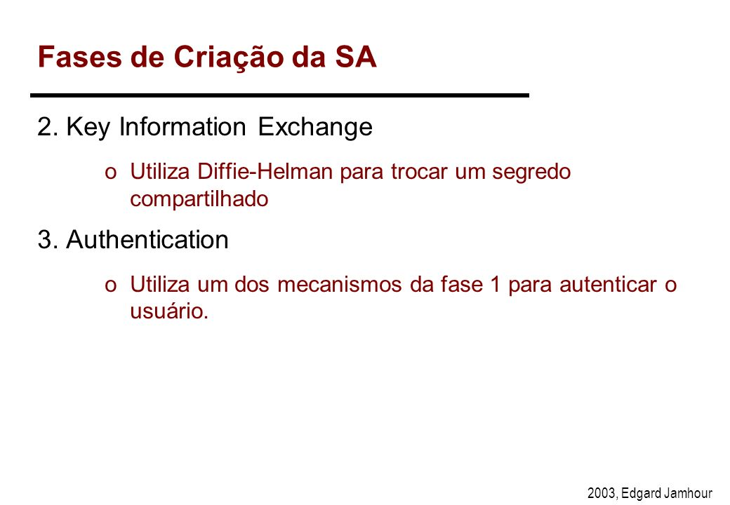 Fases de Criação da SA 2. Key Information Exchange 3. Authentication