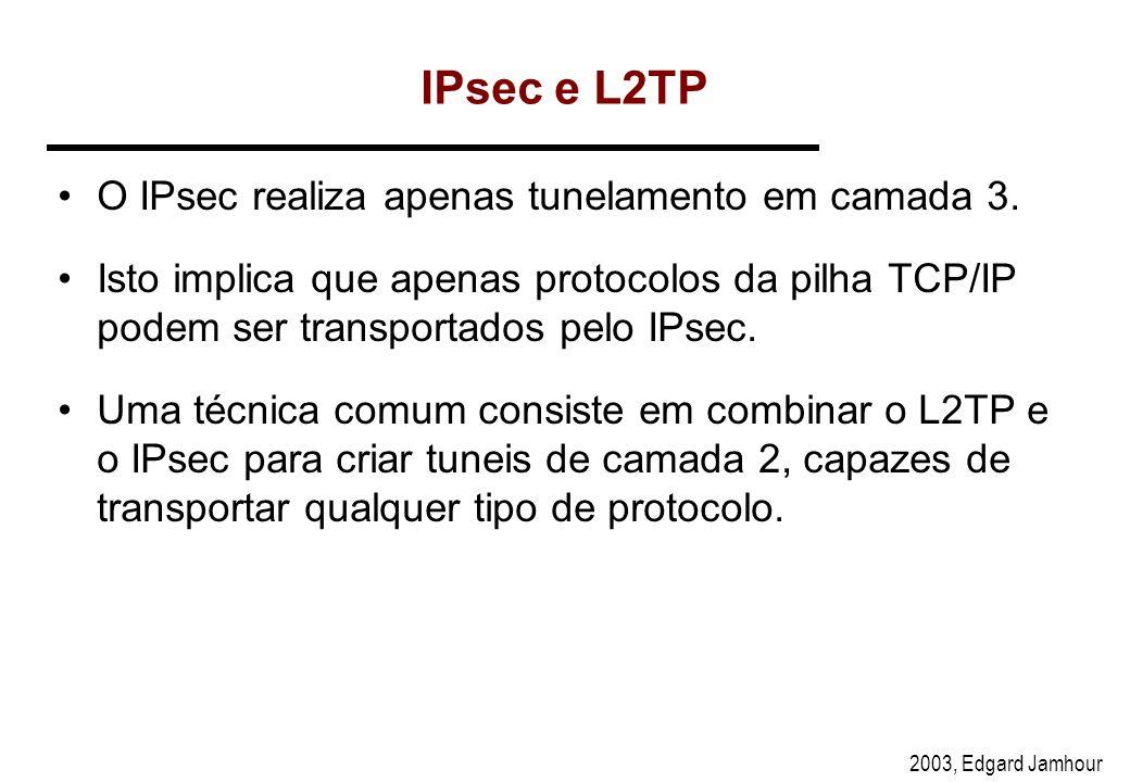 IPsec e L2TP O IPsec realiza apenas tunelamento em camada 3.