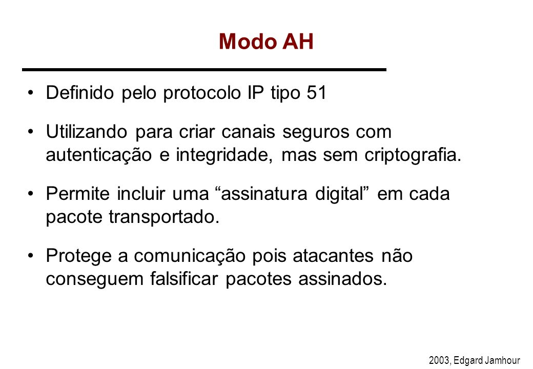 Modo AH Definido pelo protocolo IP tipo 51