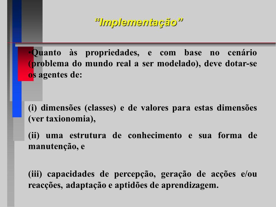 Implementação Quanto às propriedades, e com base no cenário (problema do mundo real a ser modelado), deve dotar-se os agentes de: