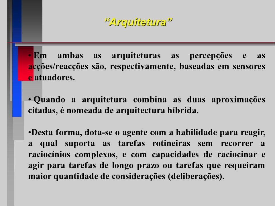 Arquitetura Em ambas as arquiteturas as percepções e as acções/reacções são, respectivamente, baseadas em sensores e atuadores.