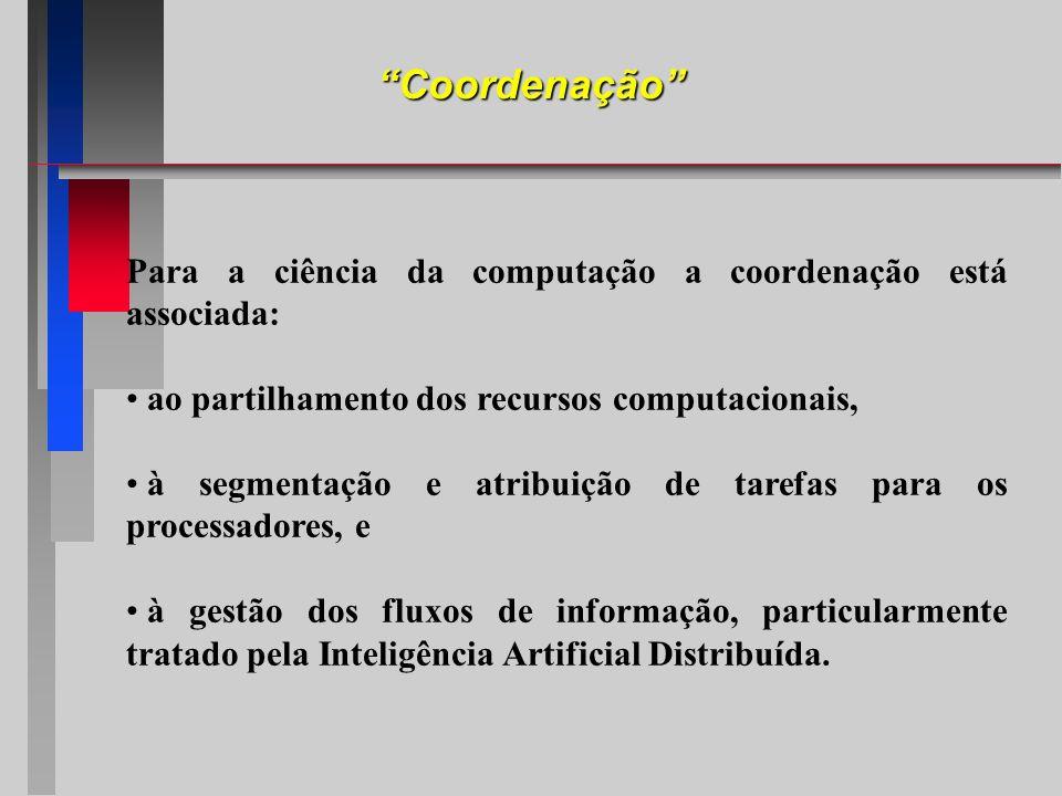 Coordenação Para a ciência da computação a coordenação está associada: ao partilhamento dos recursos computacionais,