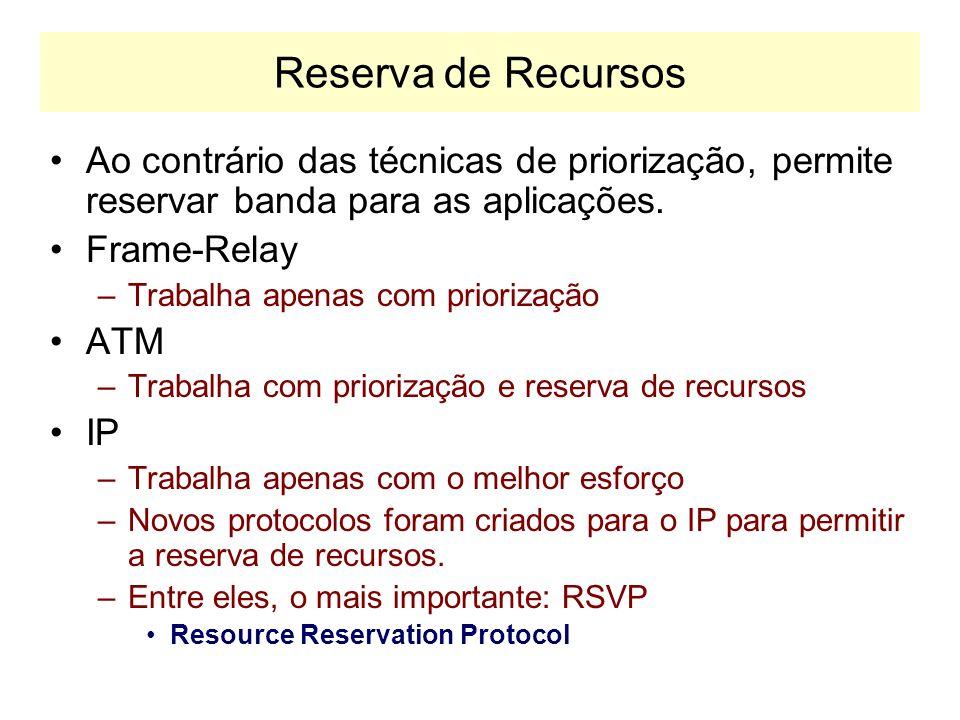 Reserva de RecursosAo contrário das técnicas de priorização, permite reservar banda para as aplicações.
