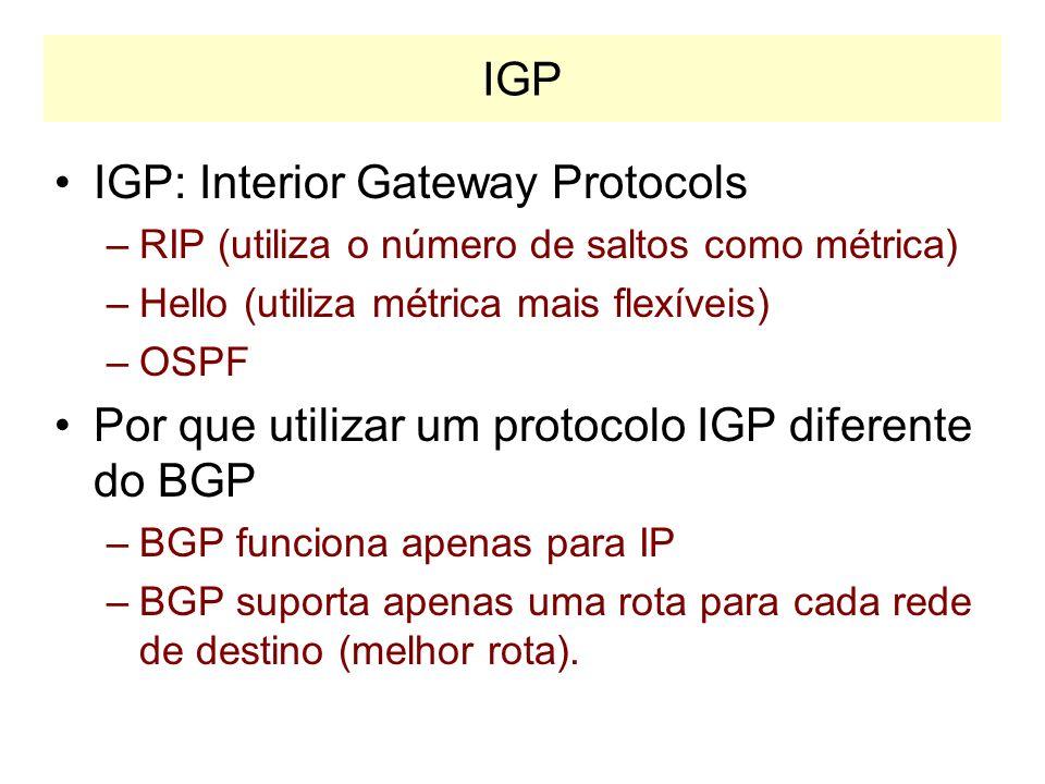 IGP: Interior Gateway Protocols