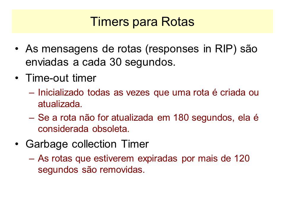 Timers para RotasAs mensagens de rotas (responses in RIP) são enviadas a cada 30 segundos. Time-out timer.