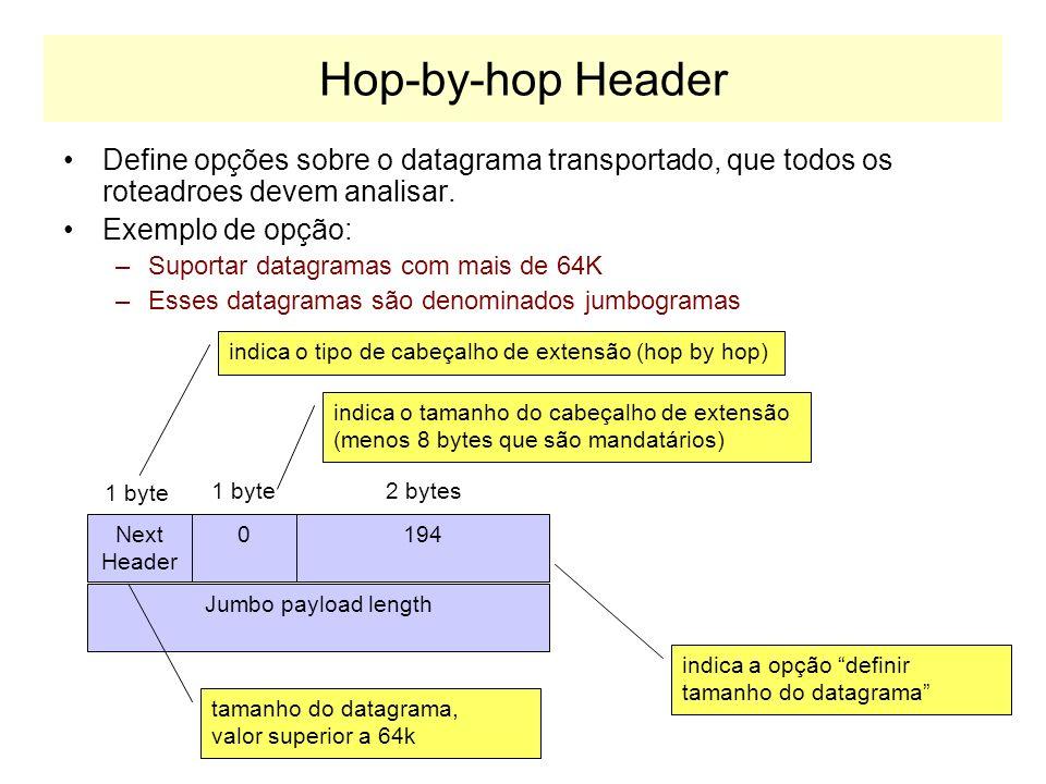 Hop-by-hop HeaderDefine opções sobre o datagrama transportado, que todos os roteadroes devem analisar.