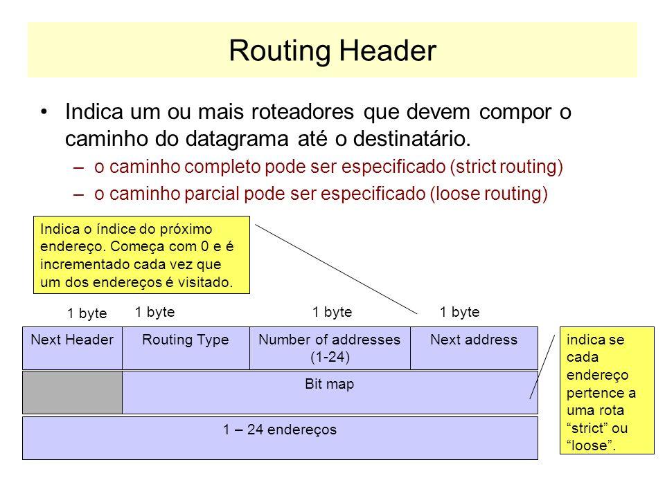 Routing Header Indica um ou mais roteadores que devem compor o caminho do datagrama até o destinatário.