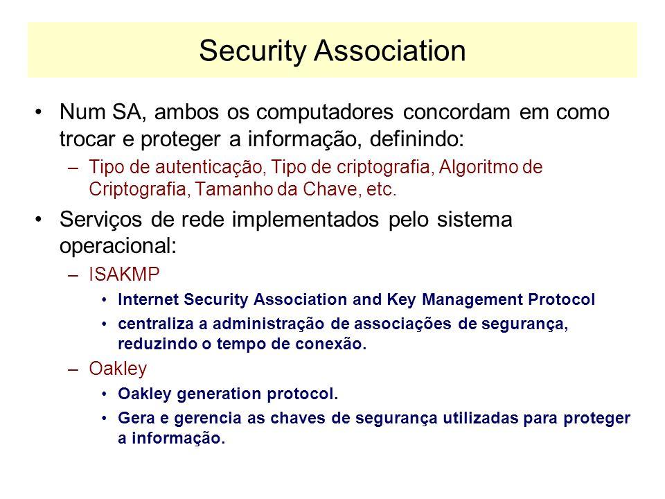 Security Association Num SA, ambos os computadores concordam em como trocar e proteger a informação, definindo: