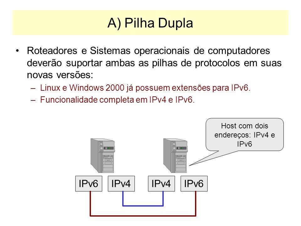 Host com dois endereços: IPv4 e IPv6
